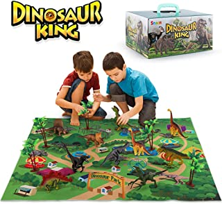 SNAEN Dinosaur Toys Set w/ 9 Realistic Dinosaur Figures, Activity Play Mat & Trees, Educational Toys Indoor Outdoor Playset to Create a Dino World w/ T-Rex, Gift for Kids Toddler Boys and Girls