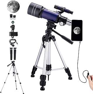 Telescopio Astronómico para Niños Adultos Principiantes, Telescopio Refractor HD de 70 mm para Astronomía, con Trípode Aju...