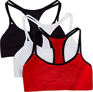 Fruit of the Loom Women's Cotton Pullover Sport Bra, Red Hot White/Black-3 Pack