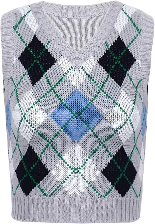 Kaerm Womens Preppy Style Plaid Knitted Sweater Vest V Neck Vintage Argyle Sleeveless Jumper Tank Top