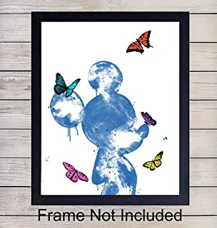 Mickey Mouse and Butterflies Wall Art Print - Unframed Watercolor - Perfect Gift For Disney Fans - Great Home Decor For Baby or Kids Room - Ready to Frame (8x10) Photo