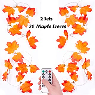 Thanksgiving Decorations Golden Maple Lighted Fall Garland 10ft 20 LEDs 2Pack Maple Leaves Waterproof Battery Operated String Lights with Remote Control Timer for Halloween, Christmas, Decorations