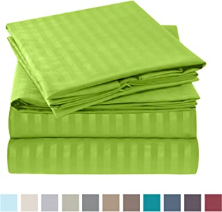 """Nestl Bedding Damask Dobby Stripe 4 Piece Set – 14""""-16"""" Deep Pocket Fitted Sheet – Ultra Soft Double Brushed Microfiber Top Sheet – 2 Hypoallergenic Wrinkle Free Pillow Cases, Twin XL - Garden Green"""
