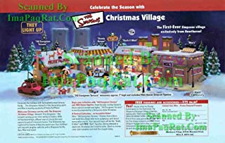 Simpsons Christmas Village: from Hawthorne: Bart, Homer, Kwik-E-Mart, Moe's: Great Original Print Ad!
