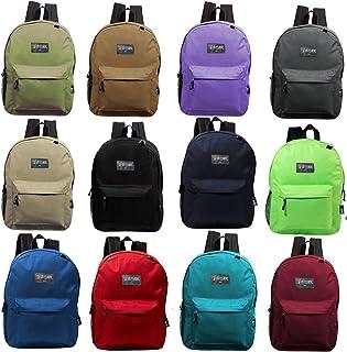 17 Inch Wholesale Basic Backpack in 12 Randomly Assorted Colors - Bulk Case of 24 Bookbags