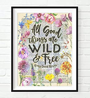Henry David Thoreau Quote, All Good Things Are Wild and Free Art Print, Unframed, Vintage Highlighted Dictionary Page Wall Art Decor Poster Sign, All Sizes