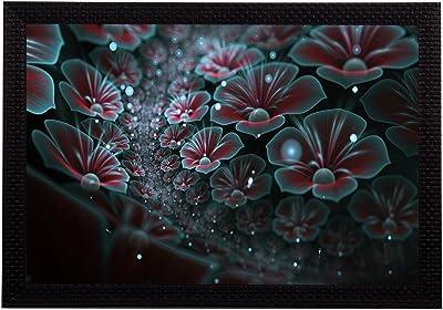 eCraftIndia 'Shining Blue Floral' UV Art Painting (Synthetic Wood, 36 cm x 25 cm, Satin Matt Texture)