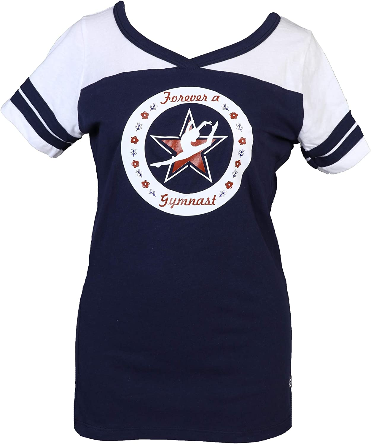 Snowflake Designs Forever a Gymnast T-Shirt White Finally Bargain popular brand Navy and