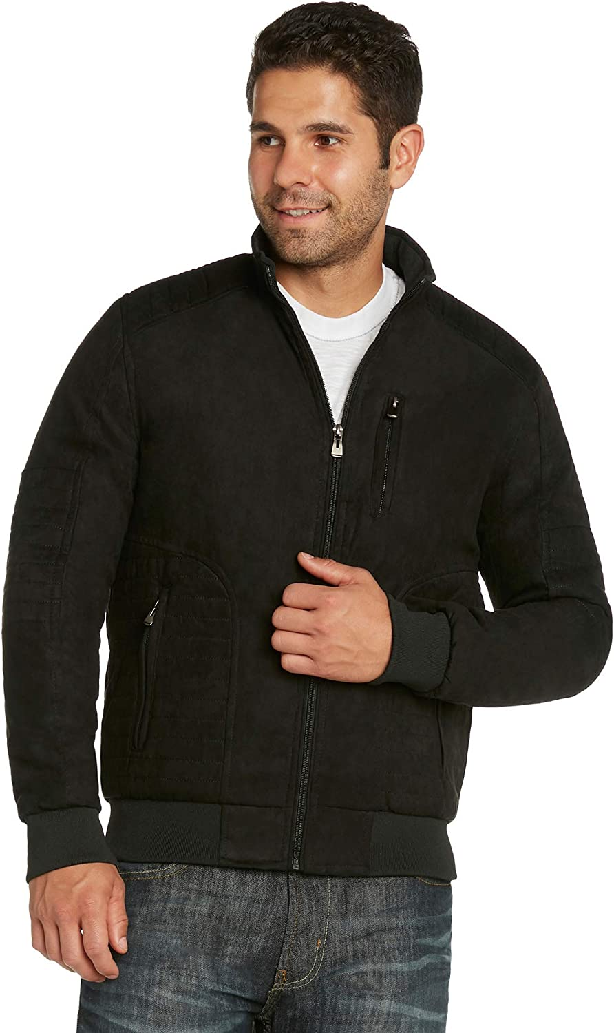 Men's Faux-Suede Quilted Moto Modern Fit Jacket Coat