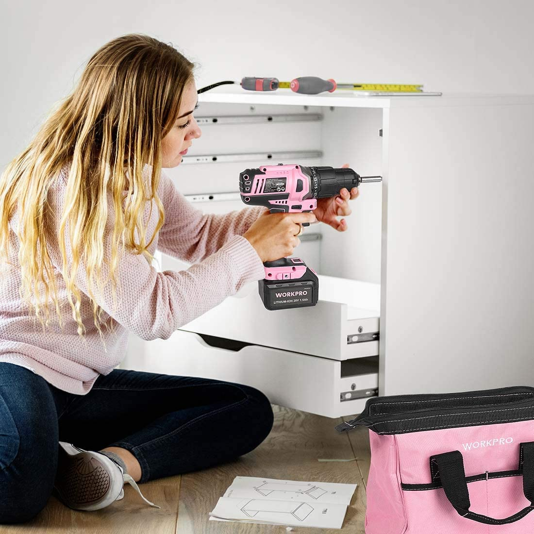 WORKPRO W004532A Pink Cordless Power Drill for Women
