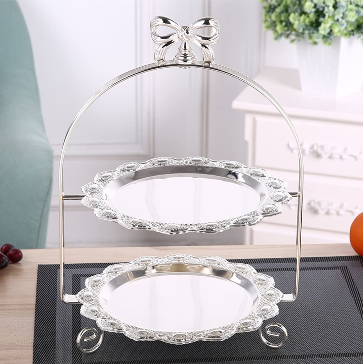 Cake stand cupcake tray dessert display european creative silver plating for wedding birthday party restaurant two-layers-D