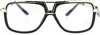 SA106 Mens Racer Pilot Retro Hip Hop Rapper Clear Lens Glasses
