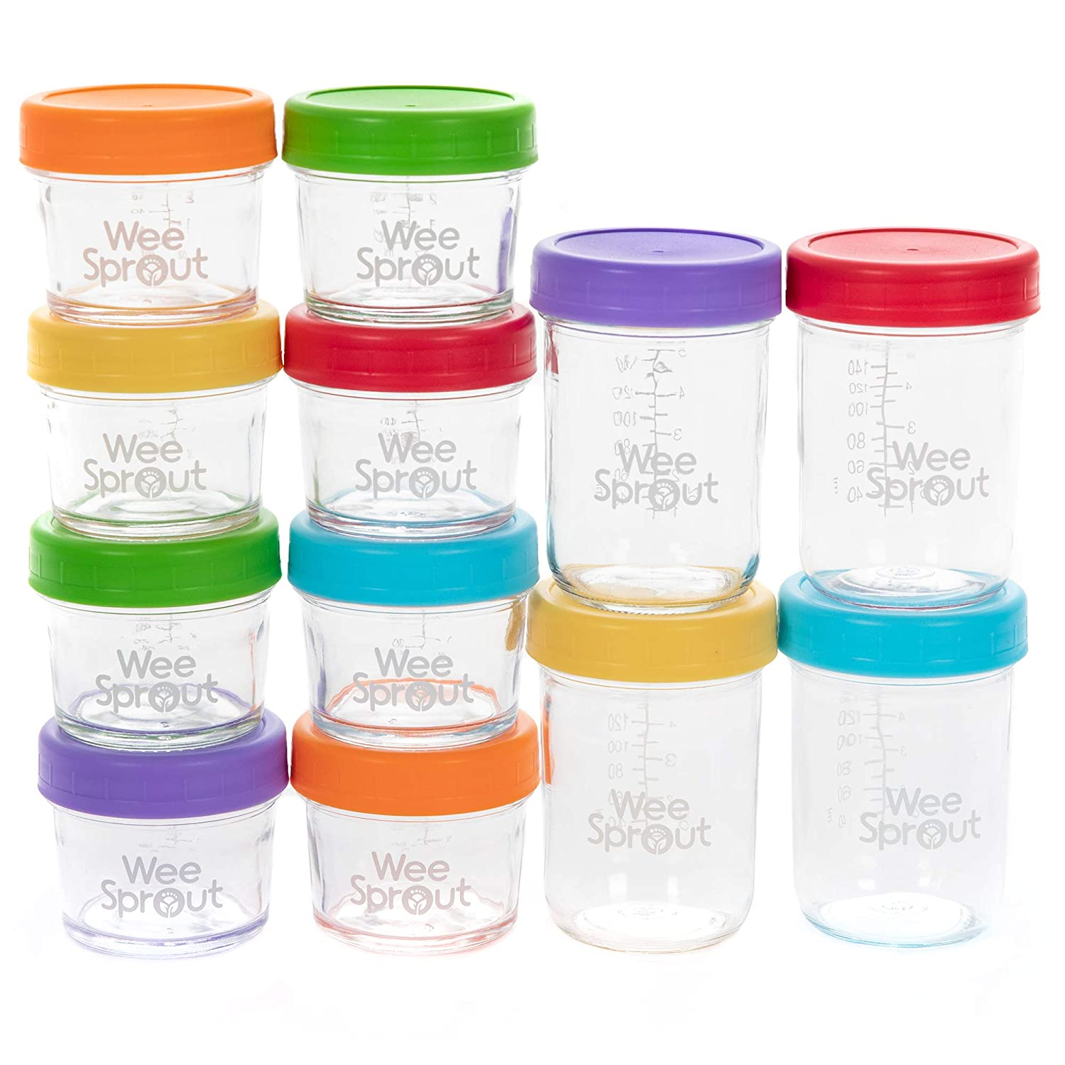 WeeSprout Glass Baby Food Storage Jars - 12 Set   4 oz & 8 oz Baby Food Jars with Lids   Freezer Storage   Reusable Small Glass Baby Food Containers   Microwave/Dishwasher Friendly   for Babies