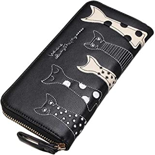 Black Sale Friday Deals Cyber Deals Monday Deals Sales 2018-Valentoria Birthday Gifts for Women's Cartoon Cat Wallet Faux Leather Coin Purse Zippered Wallet Clutch(Black)