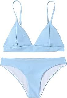 SOLY HUX Women's Seam Detail Straps Padded Triangle Bralette Bikini