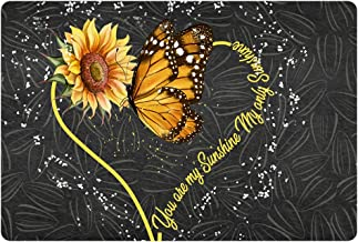 Aoopistc Adrable Sunflower Butterfly Doormat Indoor Flannel Rugs Halloween Decoration Soft Thin