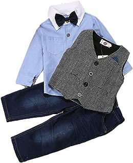 Weste ZNMJW Baby Gentleman Anzug Fr/ühling und Herbst sch/öner Gentleman Boy Jeansanzug Jeans 3 S/ätze Hemd