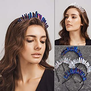 tqmarket Boho Raw Crystal Crown Natural Quartz Headpiece Hair Accessory for Women Accessories(Blue,one Size)