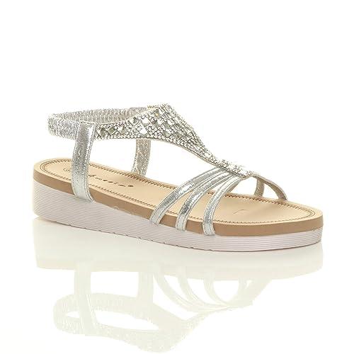 18934bcc67b Ajvani Womens Ladies Low Wedge Heel Flatform Diamante t-bar Slingback  Sandals Size