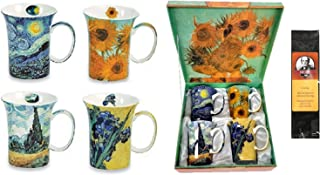 McIntosh Trading 4 Van Gogh Classics Coffee or Tea Mugs in a Matching Gift Box Bundle with 1 Gift Package of 6 Tea Bags