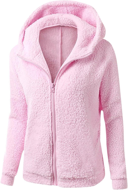 Womens Fluffy Hooded Wool Zipper Coat Winter Warm Cotton Faux Shaggy Jackets Outwear