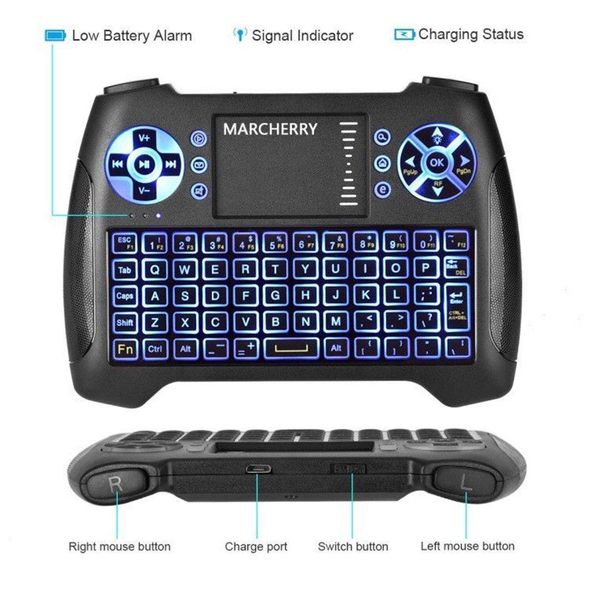 Mini teclado inalámbrico, March de arándano 2,4 GHz 3 colores fondo iluminado Gaming Keyboard con touchpad Ratón USB Rechargable Handheld mando a distancia para SMART TV Xbox Android TV Box proyector PC