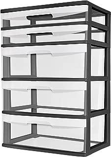 Sterilite 5 Drawer Wide Tower Black Frame Storage Organizer Cabinet Furniture Pack New Dorm Organization Garage Bedroom Room Clear Drawers Heavy-duty Plastic Storage Drawers