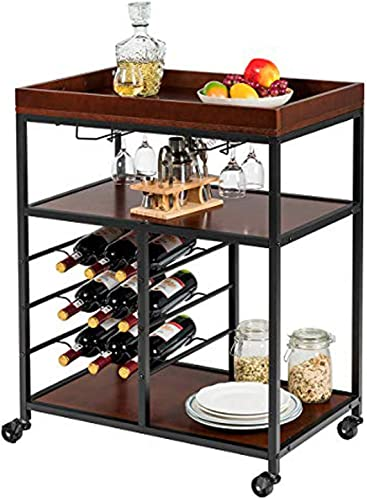 popular Giantex 3-Tier Kitchen Island Cart Rolling Trolley Industrial Style Serving wholesale Cart Utility Cart Wood Kitchen Stand with Glasses Holder and 9 Wine Bottles Rack Metal Frame high quality and Castors (Rustic Brown) sale