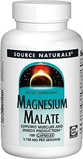 Source Naturals Magnesium Malate 3750 mg Per Serving Essential Magnesium Malic Acid Supplement - 100 Capsules
