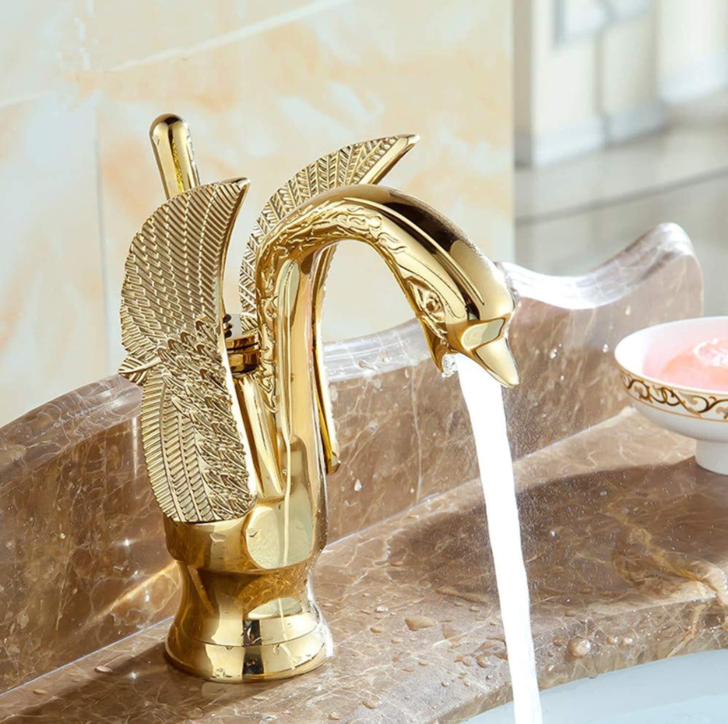 redOOY Swan shape antique Bathroom brass basin faucet hot and cold, Copper retro sink basin faucet mixer water tap golden