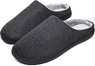 SUSHAN Men's Memory Foam Slippers Comfort Slip On House Shoes Indoor Outdoor Plush Wram Slippers