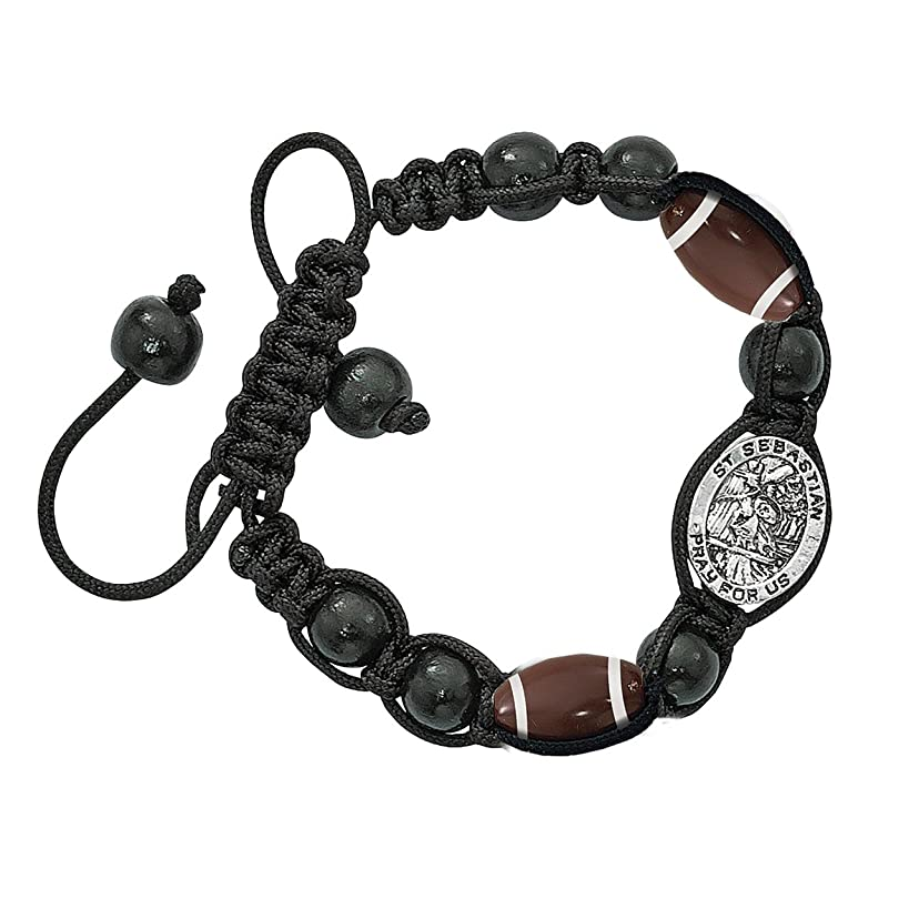 Religious Sports Bead Bracelet with Silver Toned Saint Sebastian Medal, 8 Inch