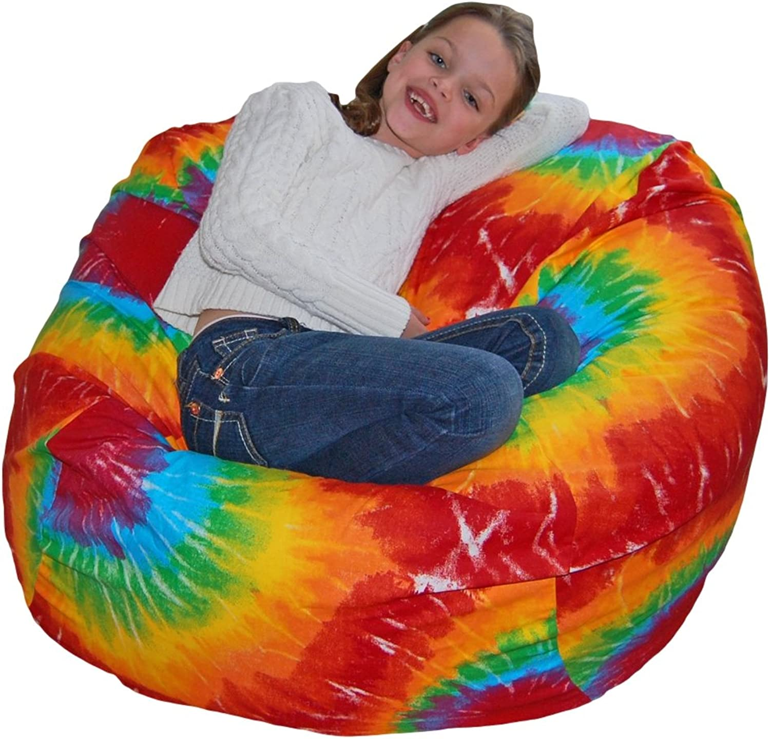 HAHAHA Ahh  Products Rainbow Tie Dye Printed Cotton Washable Large Bean Bag Chair