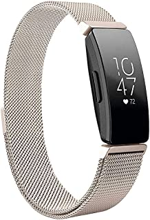 Metal Band Compatible with Fitbit Inspire & Fitbit Inspire HR, Hamkaw Replacement Strap - Adjustable Magnetic Milanese Loop Solid Stainless Steel Watch Bands Fitness Tracker Accessories Gold