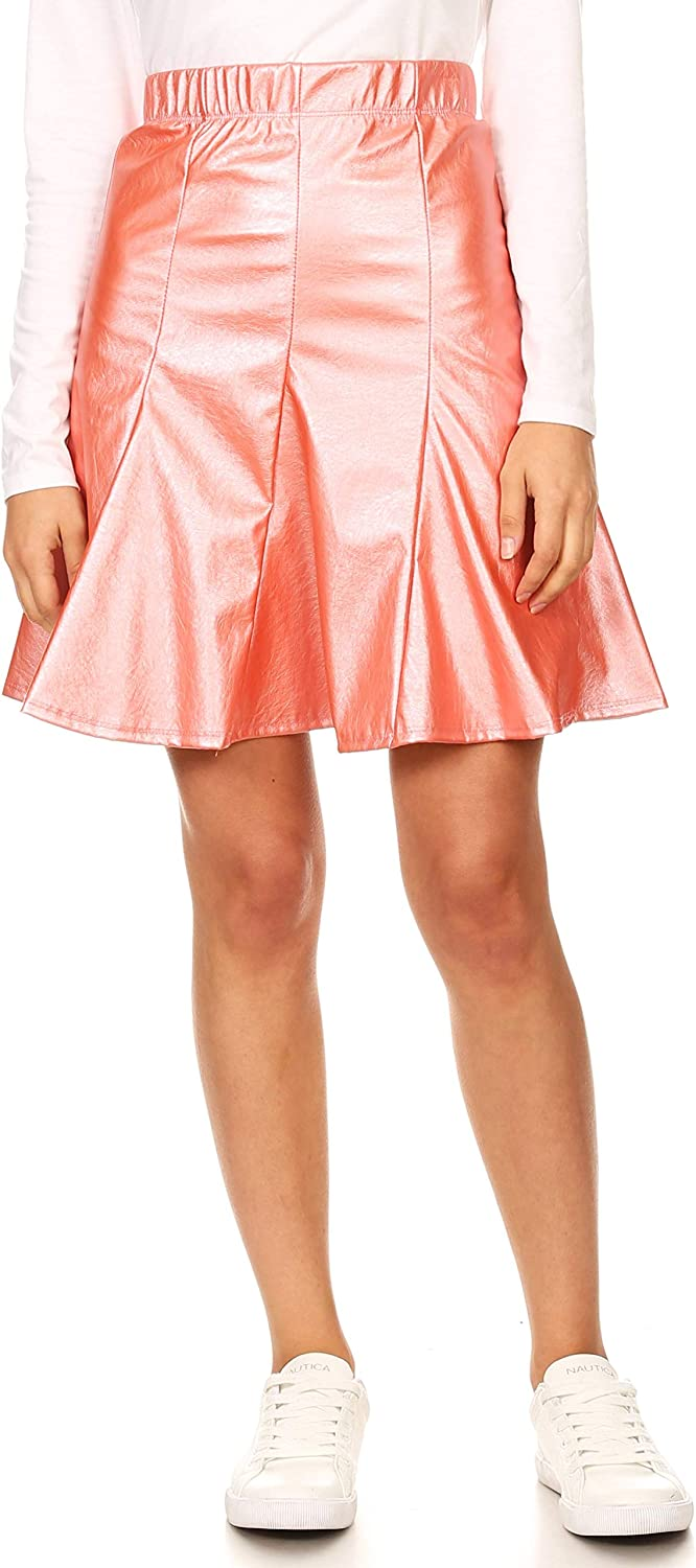 Metallic Faux Leather A Line Skirts for Women High Waisted Above The Knee - Made in USA