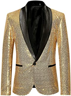 Shujin Men's Shiny Sequins Blazer Suit Jacket One Button Men's Performance Costume for Wedding and Party