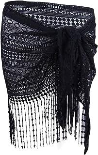 ثوب سباحة حريمي من Dotti Delight Crochet Fringe Sarong مغطى باللون الأسود مقاس موحد