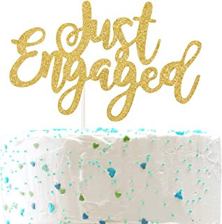 Just Engaged CakeTopper for Engagement Wedding Party Decorations,Engaged AF Sign (Double Sided Gold Glitter)