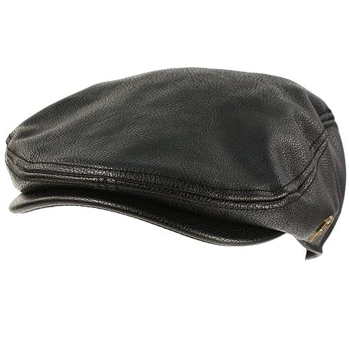 Men s Sleek Winter Fall Faux Leather Ivy Driver Cab Flat Cap Hat Black S M 3ec3fb37c37