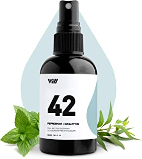 42 Foot and Shoe Spray, Essential Oil-Based Mist, All-Natural Ingredients Feet and Shoe Deodorizing Spray (Peppermint, Euc...