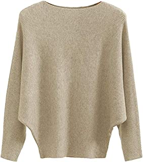 Women's Batwing Sleeves Knitted Dolman Sweaters Pullovers Tops