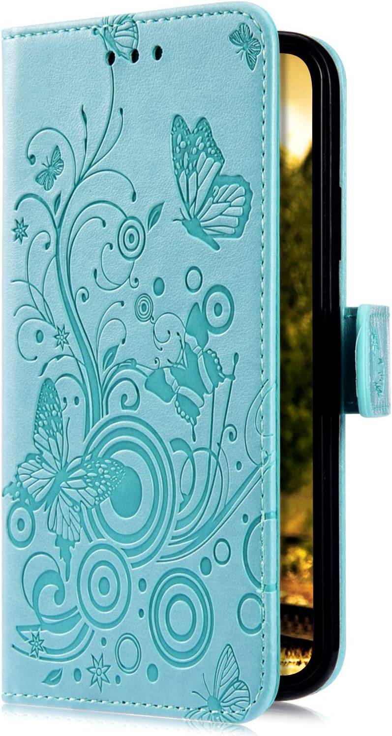 Uposao Compatible with Huawei P20 Lite Case Leather Wallet Cover Embossed Butterfly Flower Pattern Leather Flip Shockproof Protective Case Magnetic Stand Card Holder,Gold