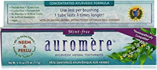 Ayurvedic Herbal Toothpaste Mint-Free by Auromere - Fluoride-Free, Natural, with Neem and Vegan - 4.16 oz (4 Pack)