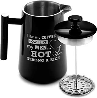 French Press Stainless Steel Coffee Maker - Coffee Plunger, Press Pot Coffee Maker, Coffee Press, Coffee Infuser, Cafetiere, Double-Walled, Thermal & Triple Filter | 34 oz (Black)