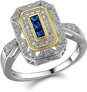 خواتم Newshe العتيقة للنساء خاتم الأحجار الكريمة 925 الفضة الاسترليني الأزرق الياقوت الأميرة تشيكوسلوفاكيا الحجم 5-10
