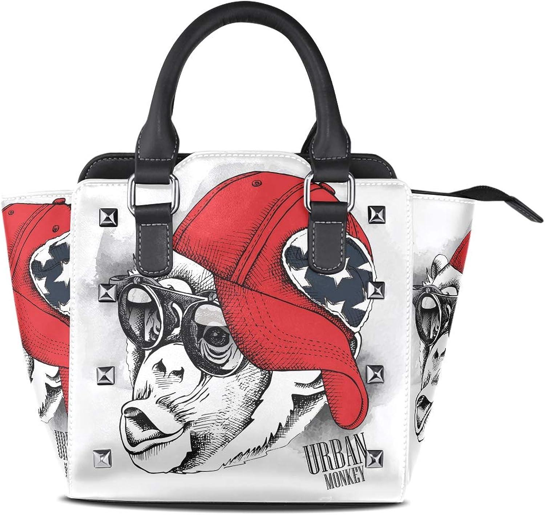 Leather Watercolor Cute Owl New Year Rivet Handbags Tote Bag Shoulder Satchel for Women Girls