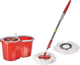 Hugo Bucket Magic Spin Double Drive Hand Pressure Mop with Free Microfiber Mop Head (Red, 2 Refills)