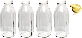 The Dairy Shoppe Heavy Glass Milk Bottles 33.8 Oz (1 Qt) Jugs with Extra Lids & NEW..