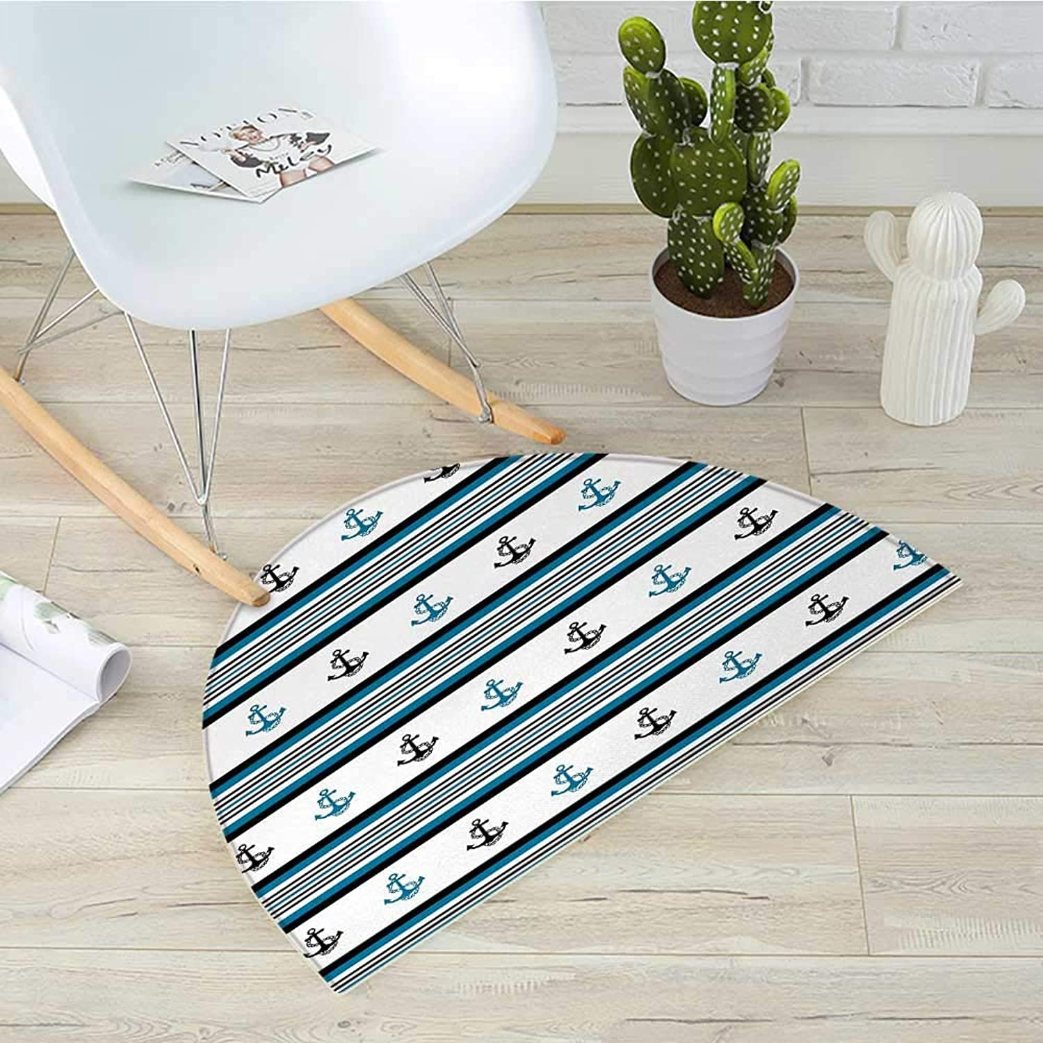 Anchor Half Round Door mats Borders with Stripes and Anchor Figures Hipster Design Retro Style Maritime Bathroom Mat H 35.4  xD 53.1  bluee Black White