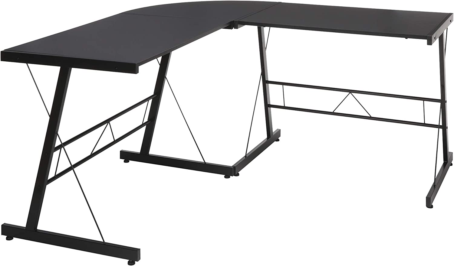 OFM Essentials Collection 60  Metal Frame L-Shaped, Corner Computer Desk, (ESS-1021-BLK-BLK), Black
